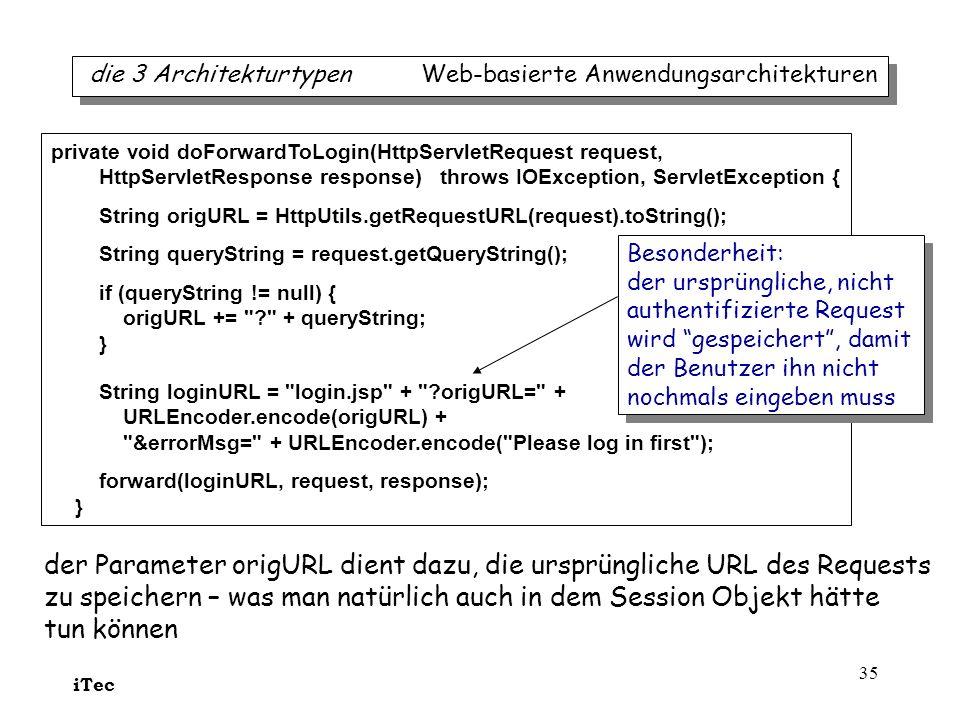 iTec 35 die 3 Architekturtypen Web-basierte Anwendungsarchitekturen private void doForwardToLogin(HttpServletRequest request, HttpServletResponse resp