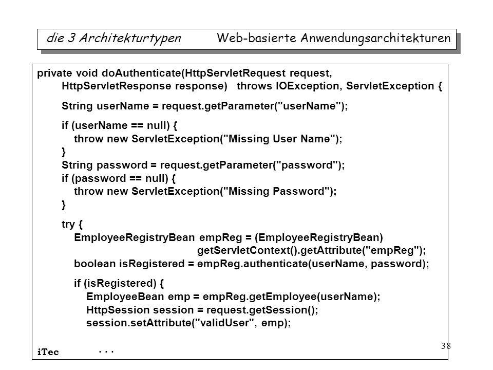 iTec 38 die 3 Architekturtypen Web-basierte Anwendungsarchitekturen private void doAuthenticate(HttpServletRequest request, HttpServletResponse respon