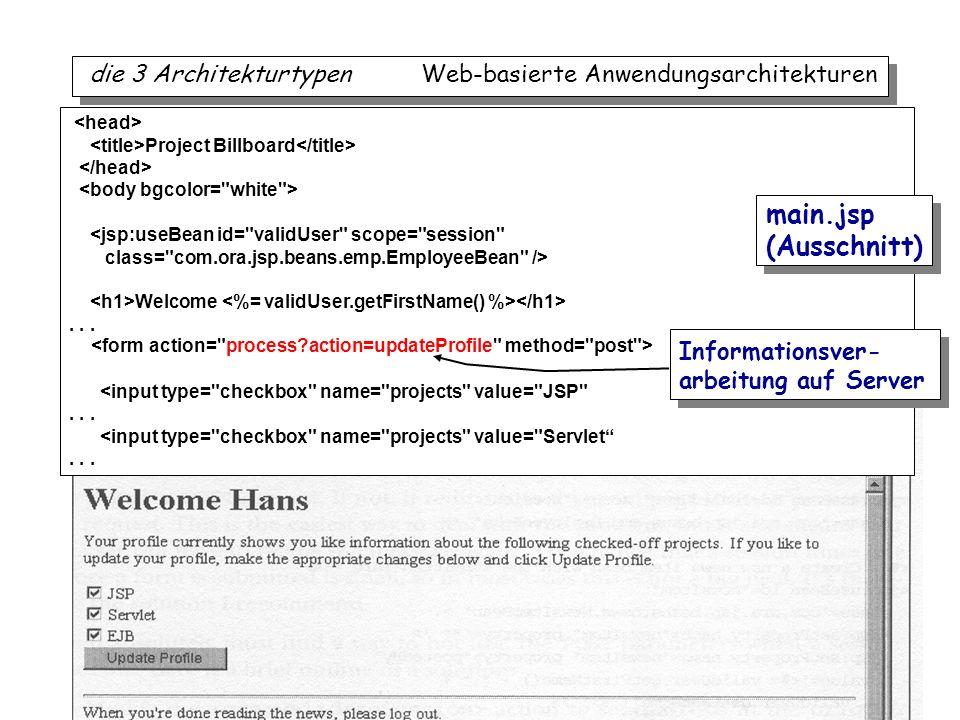 iTec 41 die 3 Architekturtypen Web-basierte Anwendungsarchitekturen Project Billboard <jsp:useBean id=