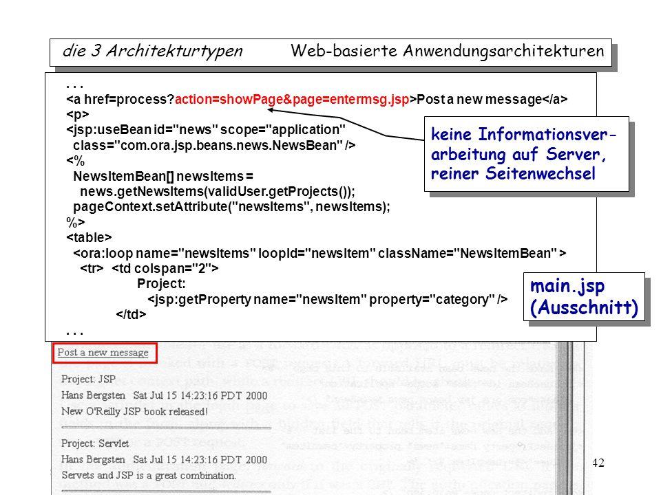 iTec 42 die 3 Architekturtypen Web-basierte Anwendungsarchitekturen... Post a new message <jsp:useBean id=