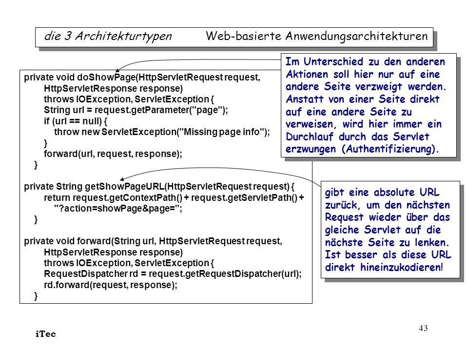 iTec 43 die 3 Architekturtypen Web-basierte Anwendungsarchitekturen private void doShowPage(HttpServletRequest request, HttpServletResponse response)