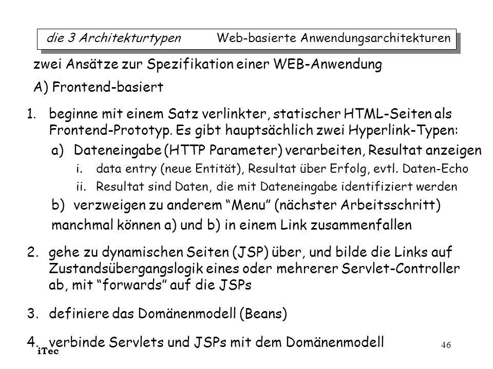iTec 46 1.beginne mit einem Satz verlinkter, statischer HTML-Seiten als Frontend-Prototyp. Es gibt hauptsächlich zwei Hyperlink-Typen: a)Dateneingabe