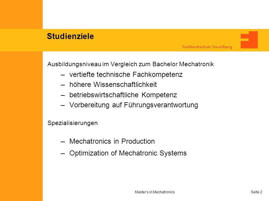 Seite 2 Studienziele Ausbildungsniveau im Vergleich zum Bachelor Mechatronik –vertiefte technische Fachkompetenz –höhere Wissenschaftlichkeit –betrieb