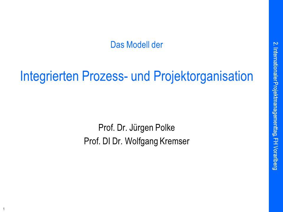 1 Das Modell der Integrierten Prozess- und Projektorganisation Prof. Dr. Jürgen Polke Prof. DI Dr. Wolfgang Kremser 2. Internationaler Projektmanageme