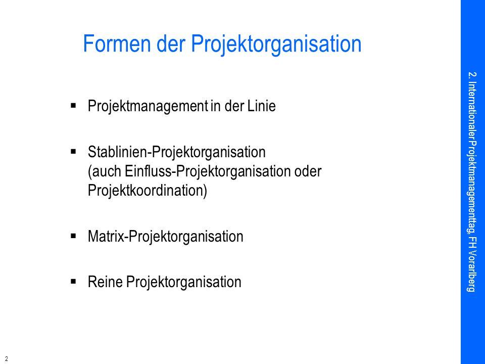 2 Formen der Projektorganisation Projektmanagement in der Linie Stablinien-Projektorganisation (auch Einfluss-Projektorganisation oder Projektkoordination) Matrix-Projektorganisation Reine Projektorganisation 2.