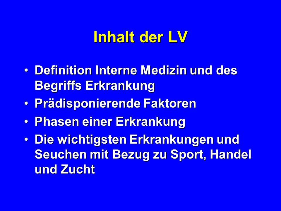 Ziel der LV Allgemeines Verständnis über häufige oder wichtige Interne Krankheiten des PferdesAllgemeines Verständnis über häufige oder wichtige Inter