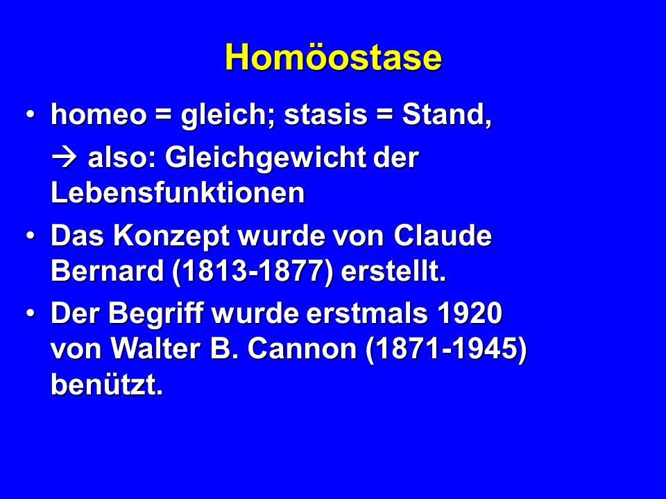 Homöostase homeo = gleich; stasis = Stand,homeo = gleich; stasis = Stand, also: Gleichgewicht der Lebensfunktionen also: Gleichgewicht der Lebensfunktionen Das Konzept wurde von Claude Bernard (1813-1877) erstellt.Das Konzept wurde von Claude Bernard (1813-1877) erstellt.