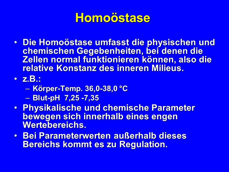 Homöostase homeo = gleich; stasis = Stand,homeo = gleich; stasis = Stand, also: Gleichgewicht der Lebensfunktionen also: Gleichgewicht der Lebensfunkt