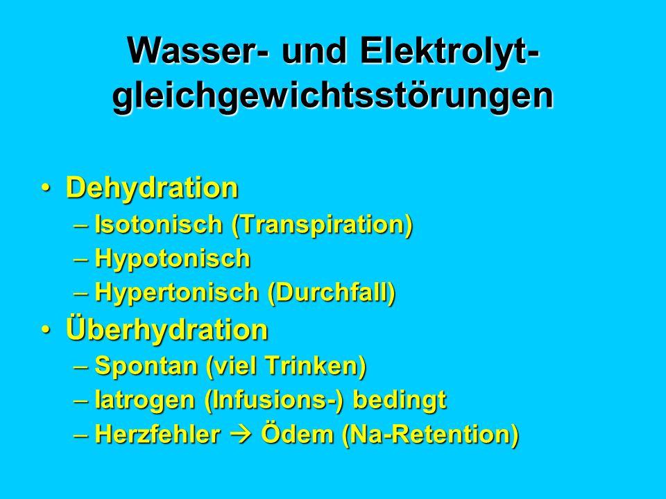 Wasser- und Elektrolyt- gleichgewichtsstörungen DehydrationDehydration –Isotonisch (Transpiration) –Hypotonisch –Hypertonisch (Durchfall) Überhydratio