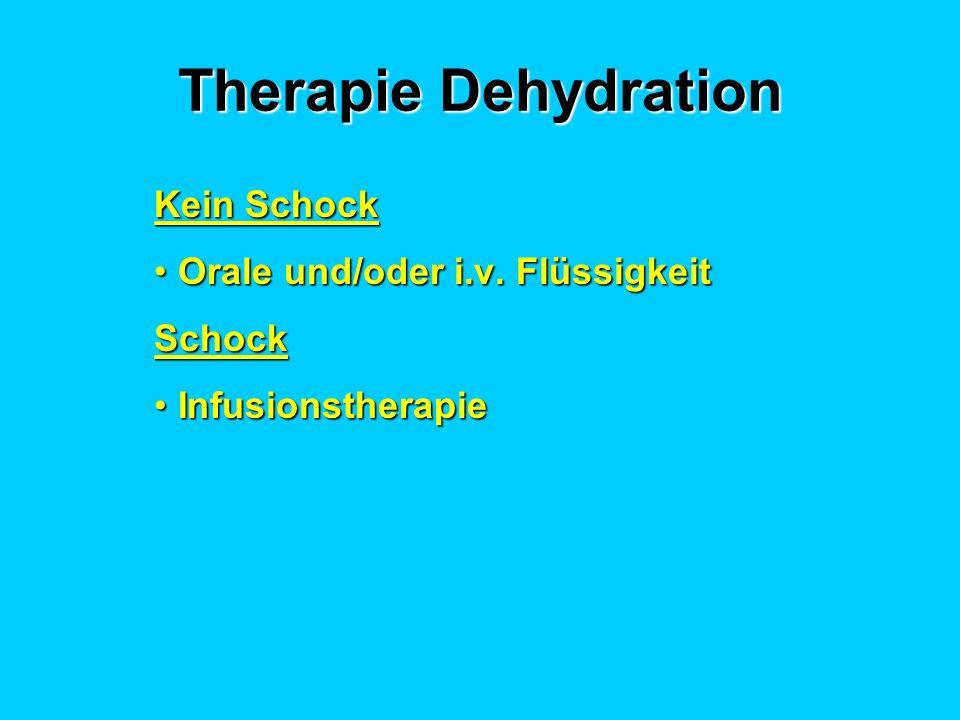 Therapie Dehydration Kein Schock Orale und/oder i.v. FlüssigkeitOrale und/oder i.v. FlüssigkeitSchock InfusionstherapieInfusionstherapie