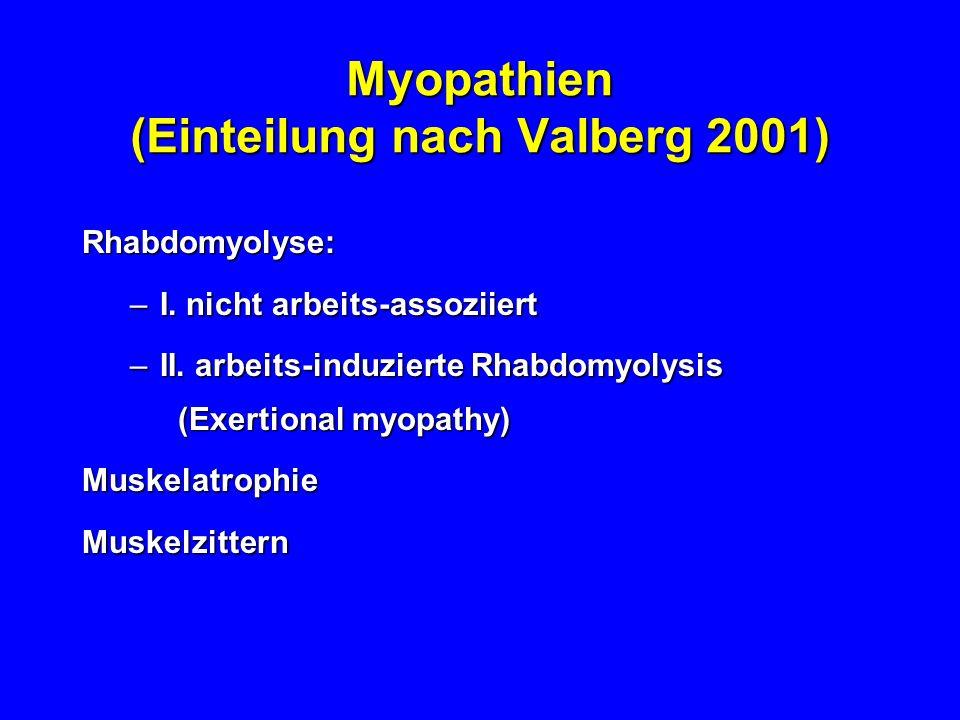 Myopathien (Einteilung nach Valberg 2001) Rhabdomyolyse: –I. nicht arbeits-assoziiert –II. arbeits-induzierte Rhabdomyolysis (Exertional myopathy) Mus