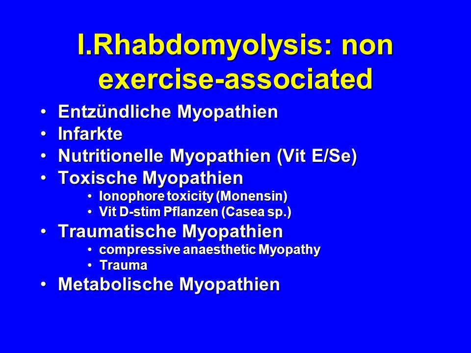 I.Rhabdomyolysis: non exercise-associated Entzündliche MyopathienEntzündliche Myopathien InfarkteInfarkte Nutritionelle Myopathien (Vit E/Se)Nutrition