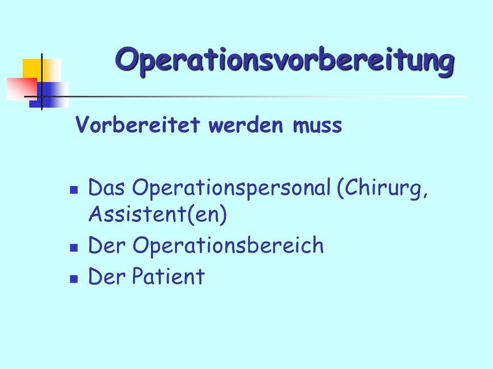 Operationsvorbereitung Vorbereitet werden muss Das Operationspersonal (Chirurg, Assistent(en) Der Operationsbereich Der Patient