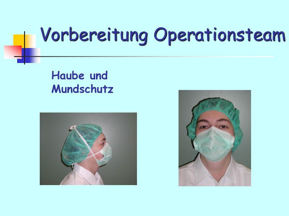 Vorbereitung Operationsteam Haube und Mundschutz