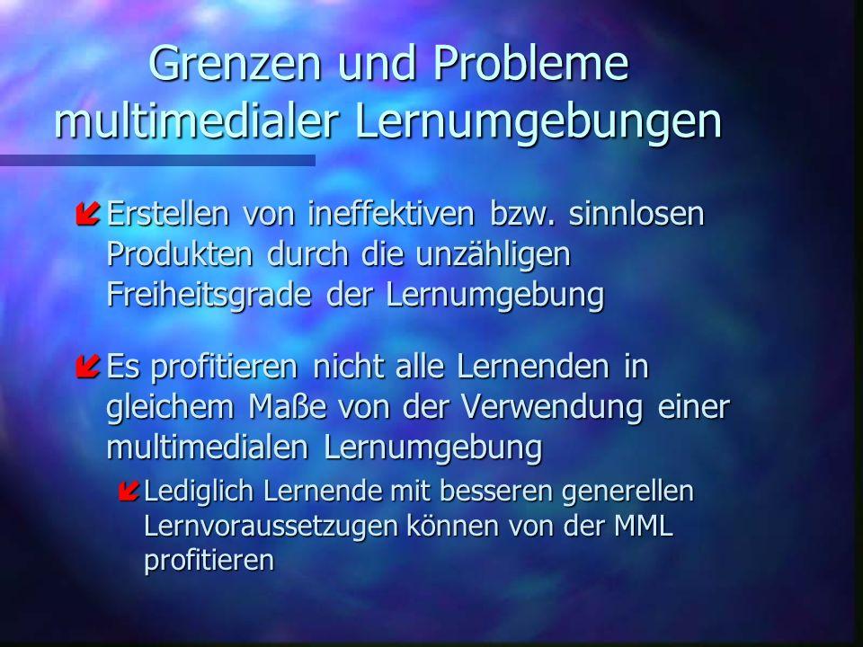 Grenzen und Probleme multimedialer Lernumgebungen íErstellen von ineffektiven bzw. sinnlosen Produkten durch die unzähligen Freiheitsgrade der Lernumg