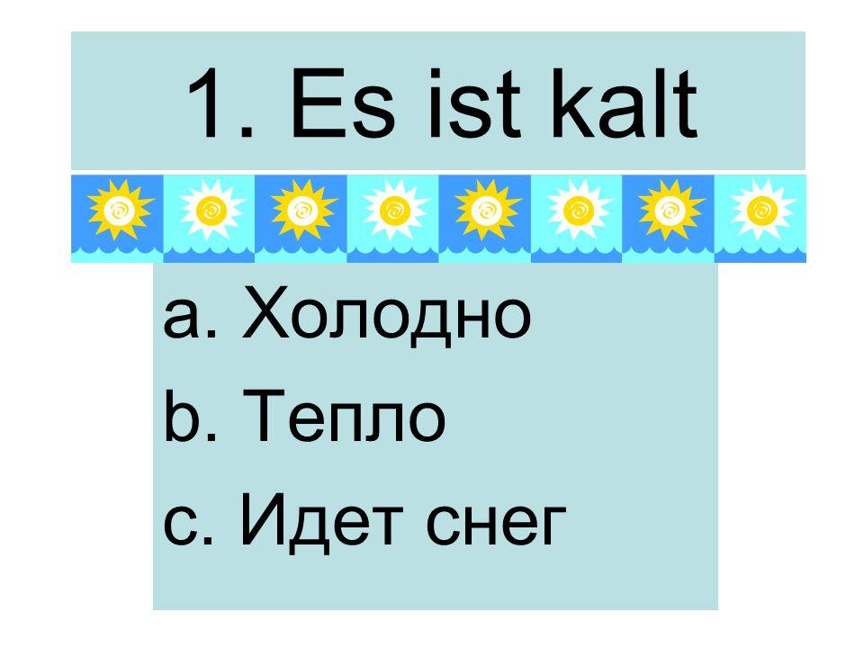 1. Es ist kalt a. Холодно b. Тепло c. Идет снег