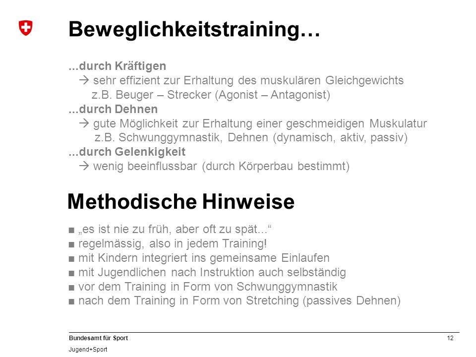 12 Bundesamt für Sport Jugend+Sport Methodische Hinweise es ist nie zu früh, aber oft zu spät... regelmässig, also in jedem Training! mit Kindern inte