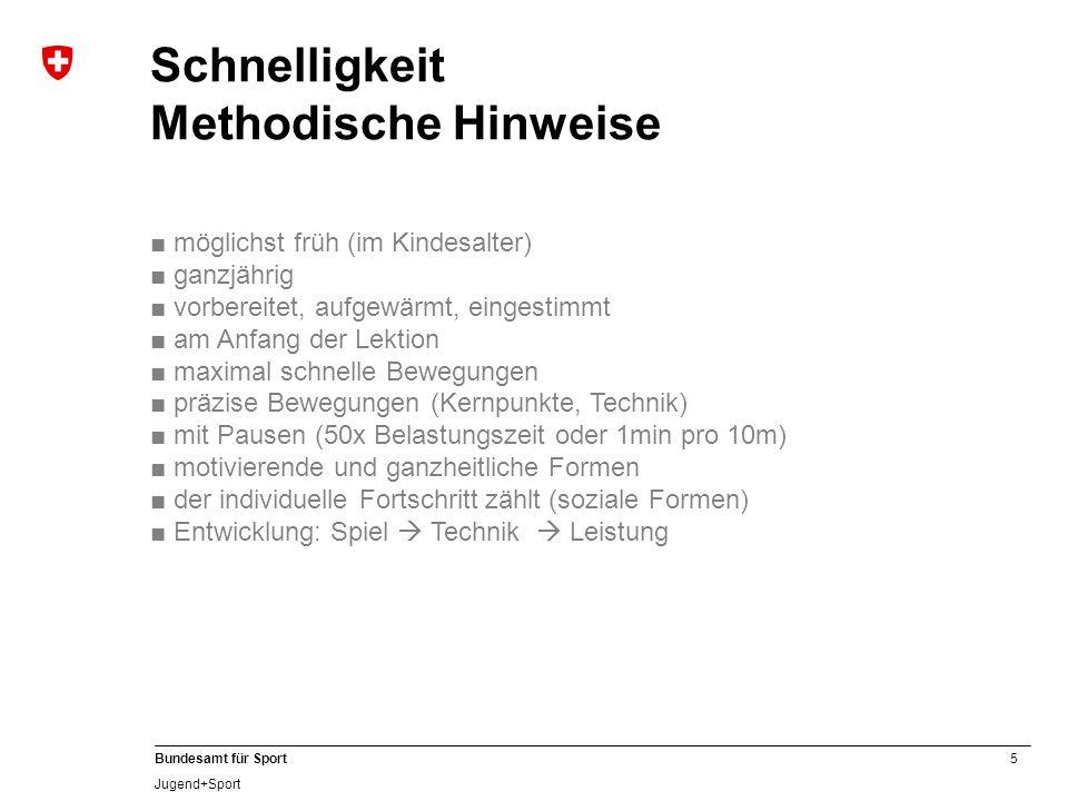 5 Bundesamt für Sport Jugend+Sport Schnelligkeit Methodische Hinweise möglichst früh (im Kindesalter) ganzjährig vorbereitet, aufgewärmt, eingestimmt