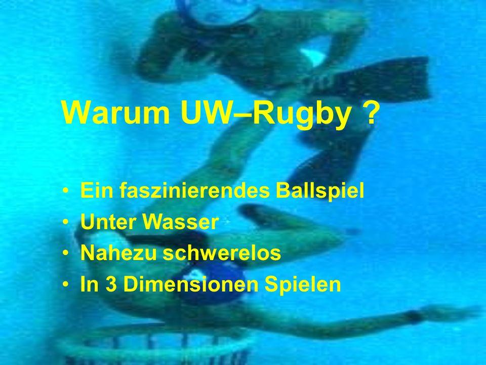 Warum UW–Rugby ? Ein faszinierendes Ballspiel Unter Wasser Nahezu schwerelos In 3 Dimensionen Spielen