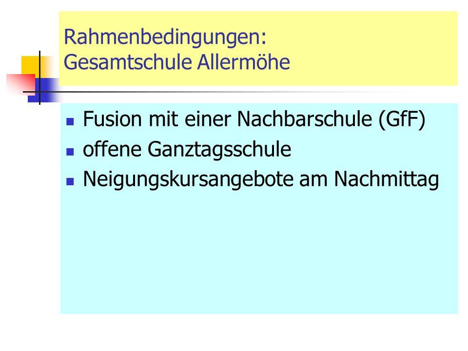 Rahmenbedingungen: Gesamtschule Allermöhe Fusion mit einer Nachbarschule (GfF) offene Ganztagsschule Neigungskursangebote am Nachmittag