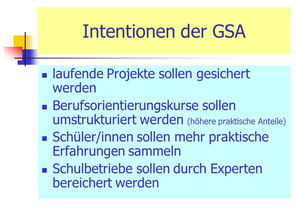 Intentionen der GSA laufende Projekte sollen gesichert werden Berufsorientierungskurse sollen umstrukturiert werden (höhere praktische Anteile) Schüler/innen sollen mehr praktische Erfahrungen sammeln Schulbetriebe sollen durch Experten bereichert werden