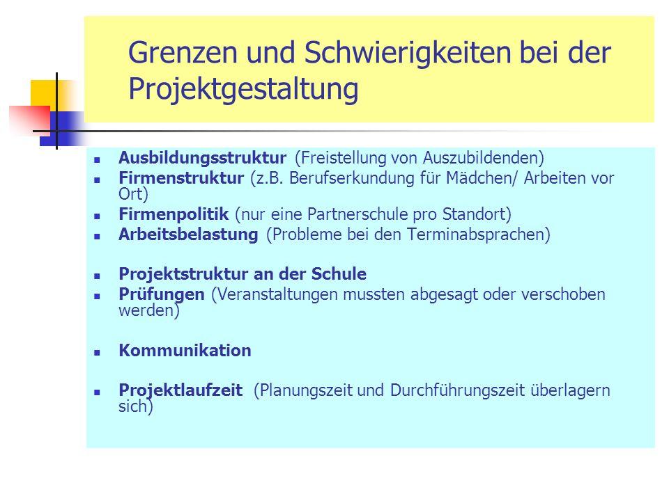 Grenzen und Schwierigkeiten bei der Projektgestaltung Ausbildungsstruktur (Freistellung von Auszubildenden) Firmenstruktur (z.B.