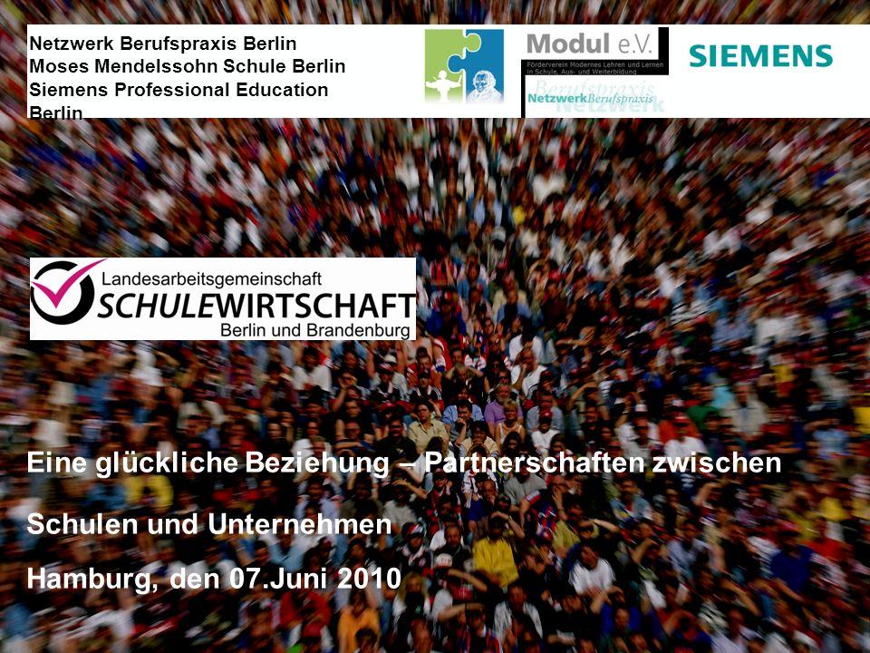 Eine glückliche Beziehung – Partnerschaften zwischen Schulen und Unternehmen Hamburg, den 07.Juni 2010 Netzwerk Berufspraxis Berlin Moses Mendelssohn