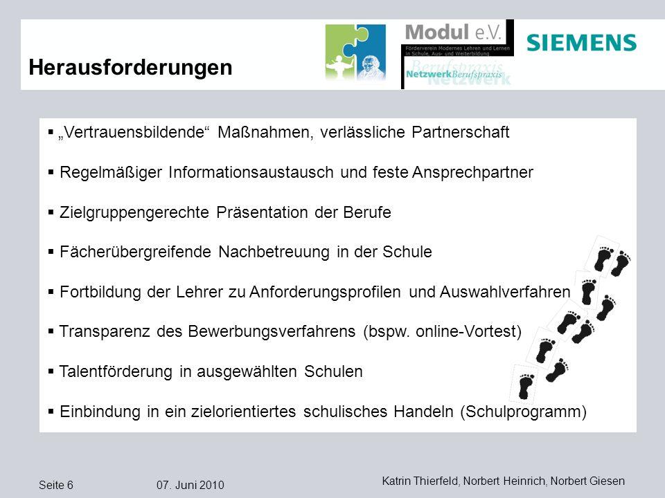 Seite 6 07. Juni 2010 Katrin Thierfeld, Norbert Heinrich, Norbert Giesen Herausforderungen Vertrauensbildende Maßnahmen, verlässliche Partnerschaft Re