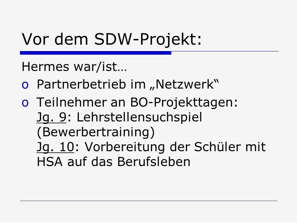 Vor dem SDW-Projekt: Hermes war/ist… oPartnerbetrieb im Netzwerk oTeilnehmer an BO-Projekttagen: Jg. 9: Lehrstellensuchspiel (Bewerbertraining) Jg. 10