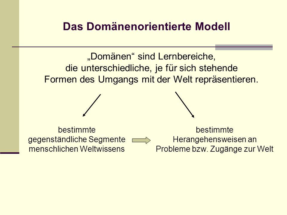 Das Domänenorientierte Modell Domänen sind Lernbereiche, die unterschiedliche, je für sich stehende Formen des Umgangs mit der Welt repräsentieren. be
