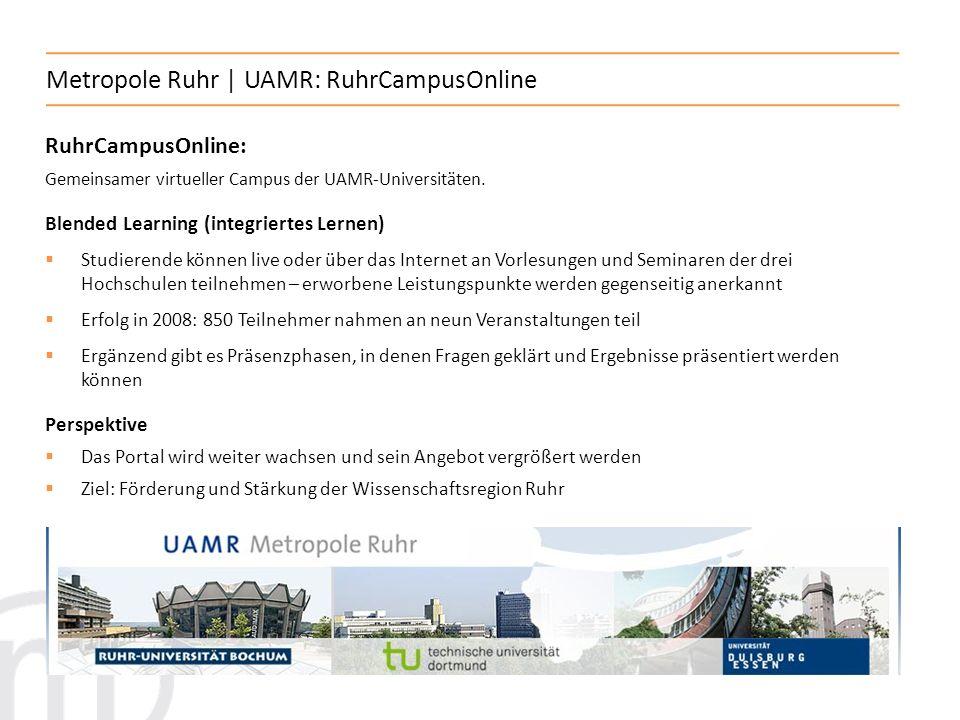 6 Metropole Ruhr | Studierende und Absolventen Metropole Ruhr gesamt: Studierende: 163.000 Studierende im Wintersemester 2008/09 ~ 26 % aller landesweit eingeschriebenen Studenten Absolventen: 8.300 bestandene Prüfungen im Wintersemester 2007/08 ~ 28% aller landesweit abgelegten Prüfungen Aktuelle Studierenden- (WS 2008/09) und Absolventenzahlen (WS 2007/08) an den Universitäten der Metropole Ruhr: Universität Duisburg-Essen: 31.000 Studierende, 2.200 Absolventen Ruhr-Universität Bochum:30.800 Studierende, 2.100 Absolventen Technische Universität Dortmund:21.600 Studierende, 1.000 Absolventen Fernuniversität Hagen:42.000 Studierende, 900 Absolventen Private Universität Witten/Herdecke: 1.200 Studierende, 130 Absolventen Aktuelle Studierenden- (WS 2008/09) und Absolventenzahlen (WS 2007/08) an den Fachhochschulen der Metropole Ruhr: Gesamt:35.700 Studierende, 2.000 Absolventen
