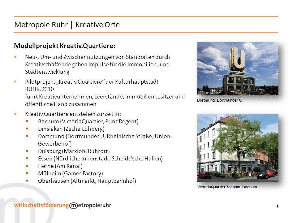 5 Metropole Ruhr | Kreative Orte Modellprojekt Kreativ.Quartiere: Neu-, Um- und Zwischennutzungen von Standorten durch Kreativschaffende geben Impulse
