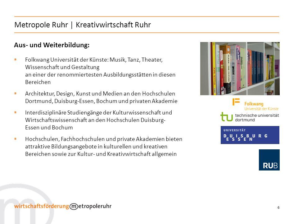 6 Metropole Ruhr | Kreativwirtschaft Ruhr Aus- und Weiterbildung: Folkwang Universität der Künste: Musik, Tanz, Theater, Wissenschaft und Gestaltung a
