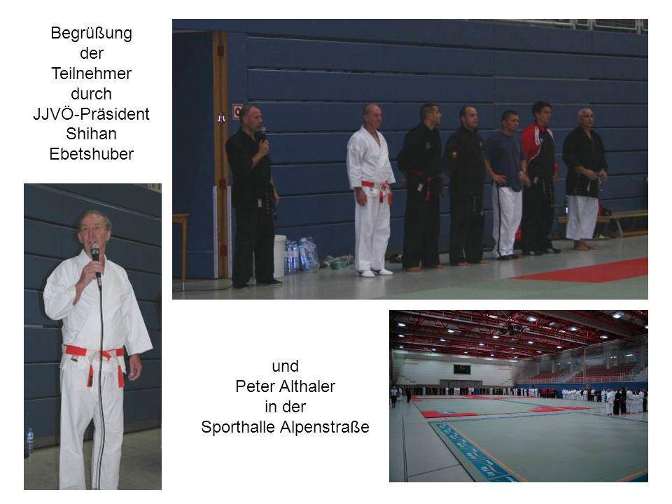 Begrüßung der Teilnehmer durch JJVÖ-Präsident Shihan Ebetshuber und Peter Althaler in der Sporthalle Alpenstraße