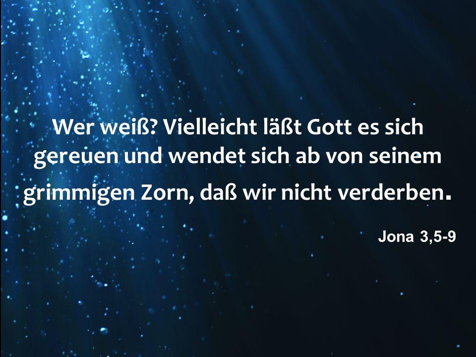 Wer weiß? Vielleicht läßt Gott es sich gereuen und wendet sich ab von seinem grimmigen Zorn, daß wir nicht verderben. Jona 3,5-9