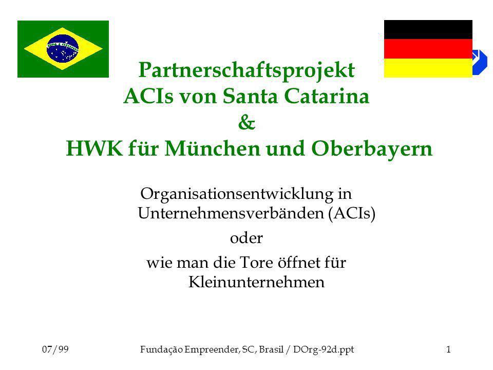 07/99Fundação Empreender, SC, Brasil / DOrg-92d.ppt1 Partnerschaftsprojekt ACIs von Santa Catarina & HWK für München und Oberbayern Organisationsentwicklung in Unternehmensverbänden (ACIs) oder wie man die Tore öffnet für Kleinunternehmen