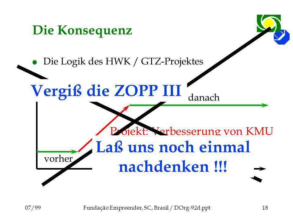 07/99Fundação Empreender, SC, Brasil / DOrg-92d.ppt18 Projekt: Verbesserung von KMU Die Konsequenz l Die Logik des HWK / GTZ-Projektes vorher danach V