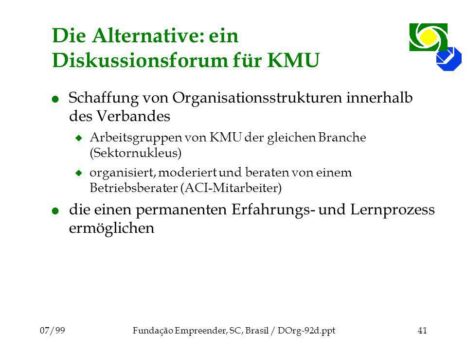 07/99Fundação Empreender, SC, Brasil / DOrg-92d.ppt41 Die Alternative: ein Diskussionsforum für KMU l Schaffung von Organisationsstrukturen innerhalb