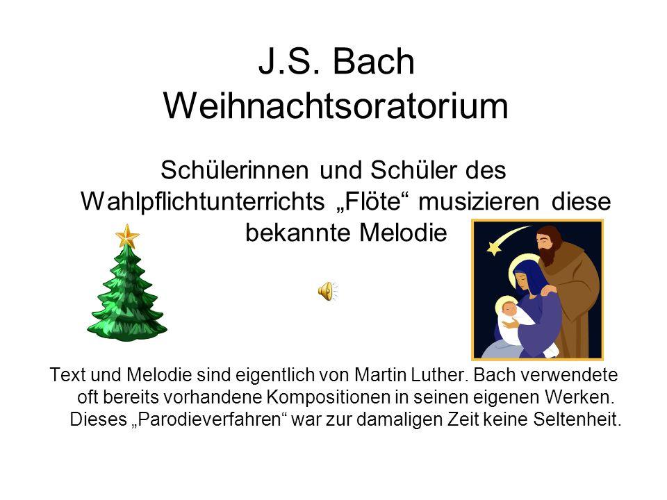 J.S. Bach Menuett fait pour Mons. Böhm Kinder des Wahlpflichtunterrichts Flöte musizieren gemeinsam