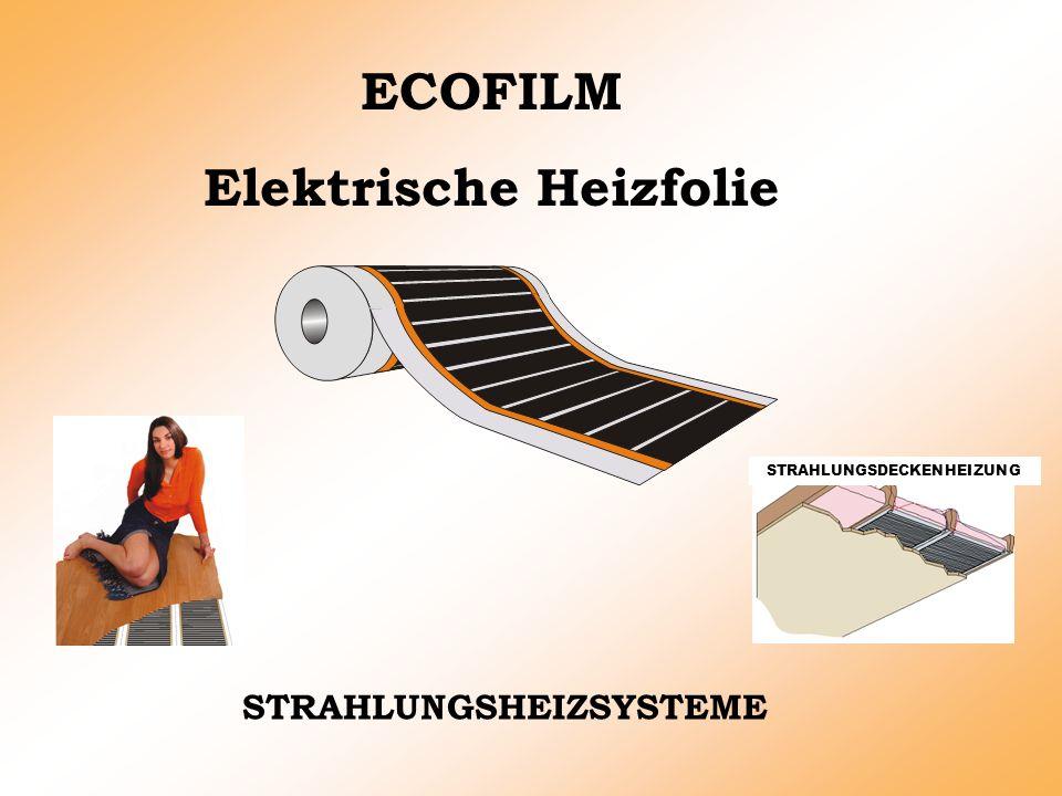 STRAHLUNGSHEIZSYSTEME ECOFILM Elektrische Heizfolie STRAHLUNGSDECKENHEIZUNG