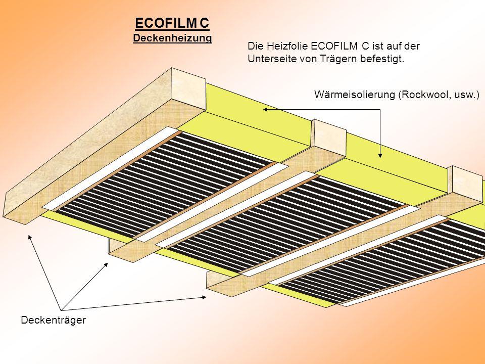 Die Heizfolie ECOFILM C ist auf der Unterseite von Trägern befestigt.