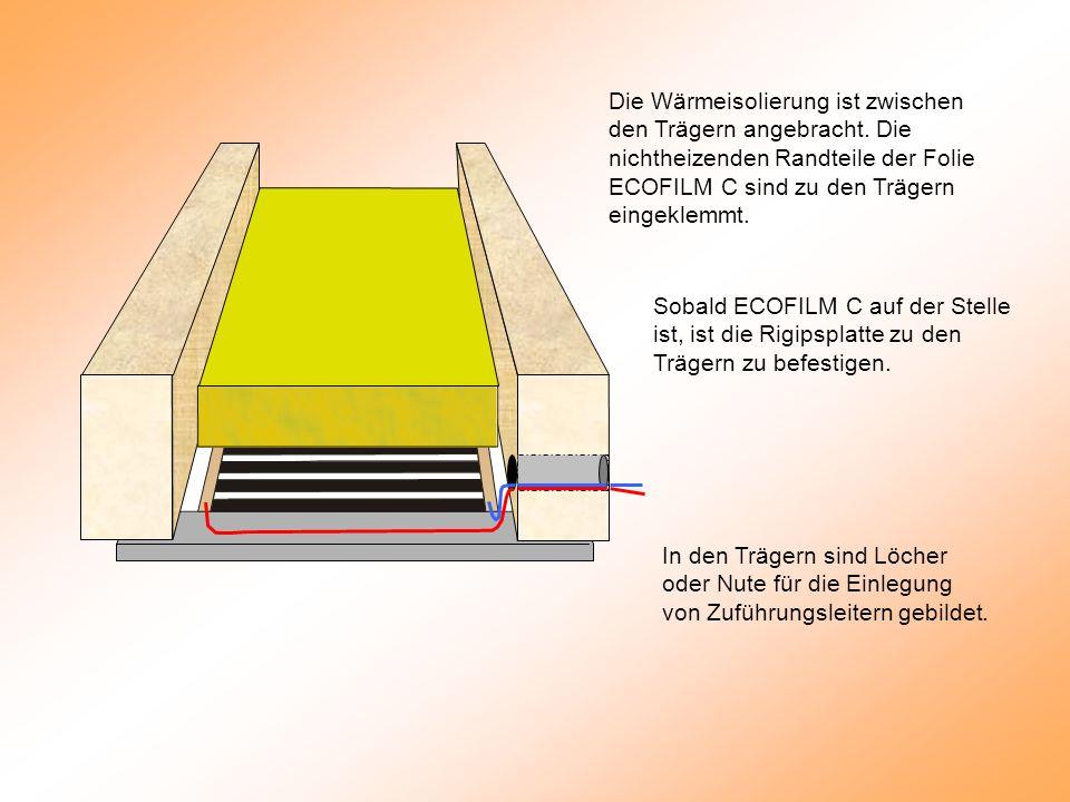 Sobald ECOFILM C auf der Stelle ist, ist die Rigipsplatte zu den Trägern zu befestigen.