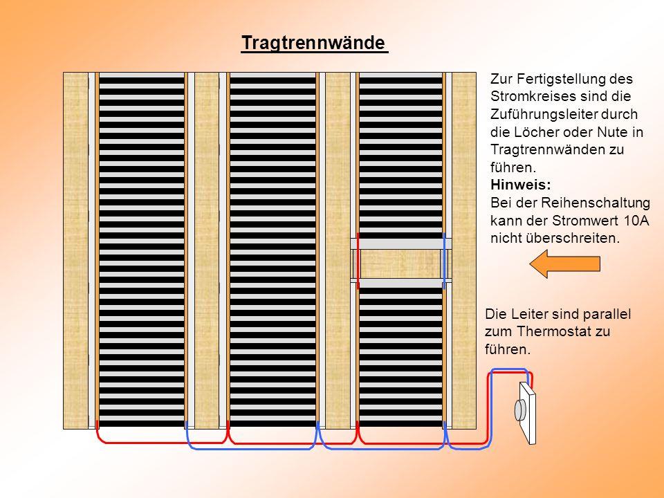 Tragtrennwände Zur Fertigstellung des Stromkreises sind die Zuführungsleiter durch die Löcher oder Nute in Tragtrennwänden zu führen.