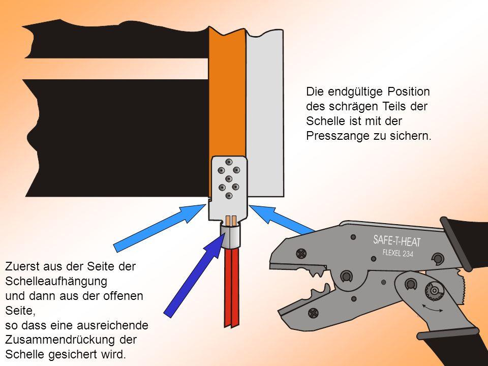 Die endgültige Position des schrägen Teils der Schelle ist mit der Presszange zu sichern.