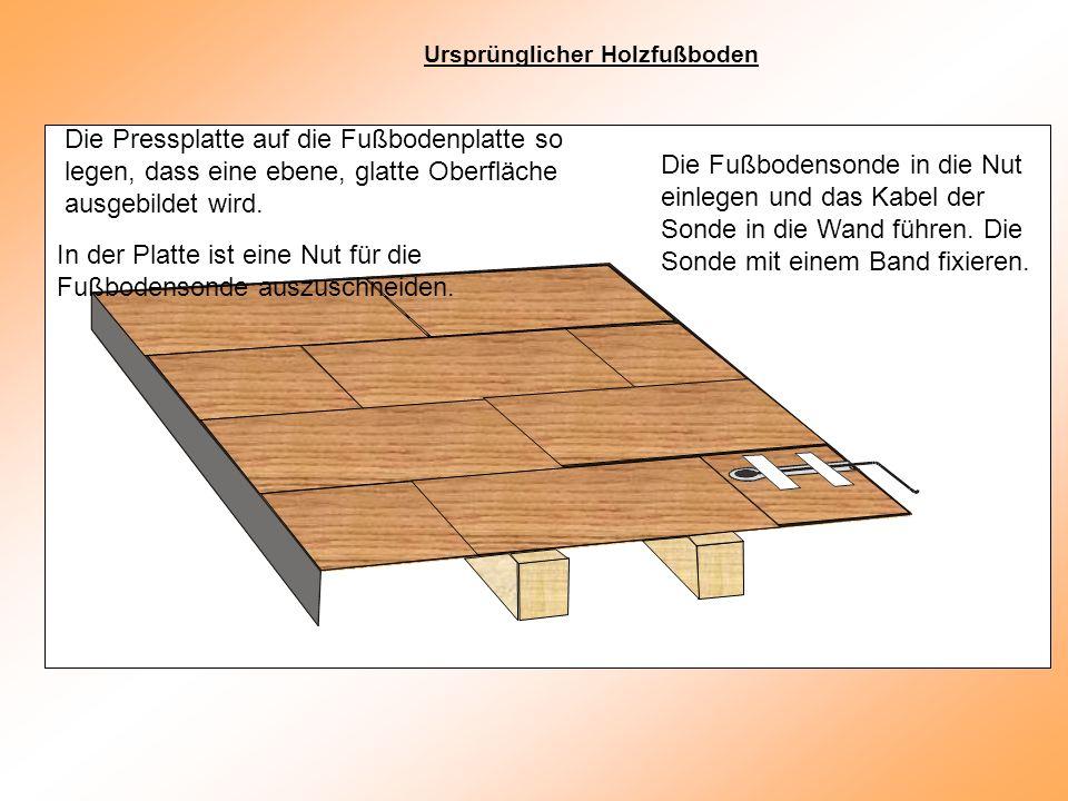 Die Pressplatte auf die Fußbodenplatte so legen, dass eine ebene, glatte Oberfläche ausgebildet wird.