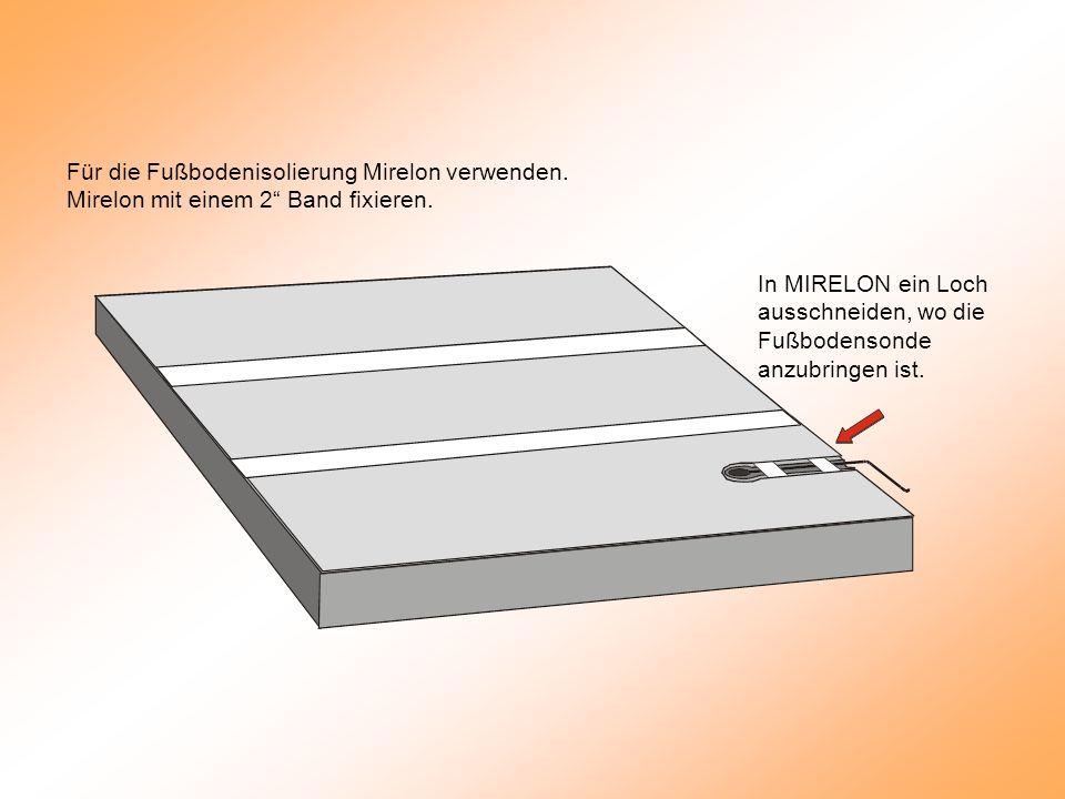 Für die Fußbodenisolierung Mirelon verwenden. Mirelon mit einem 2 Band fixieren.