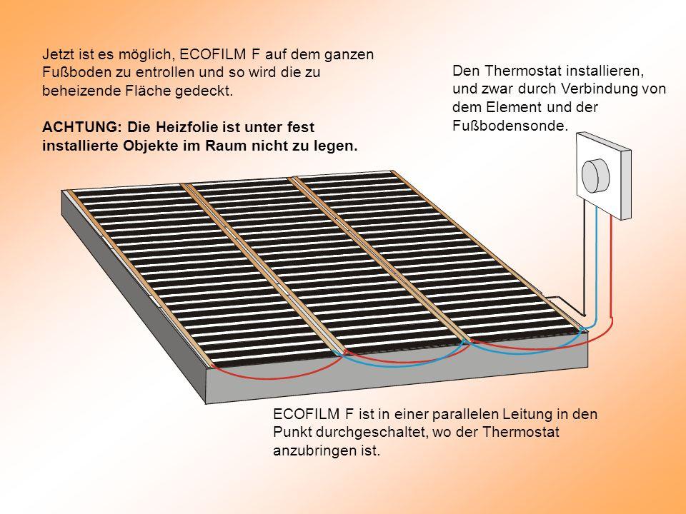 Jetzt ist es möglich, ECOFILM F auf dem ganzen Fußboden zu entrollen und so wird die zu beheizende Fläche gedeckt.