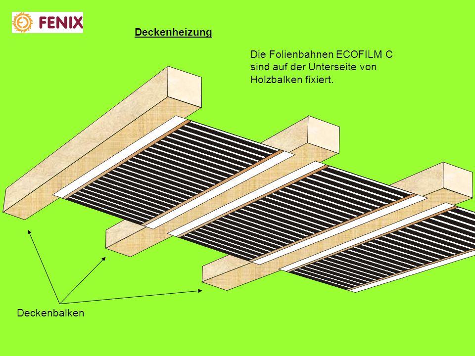 Die Folienbahnen ECOFILM C sind auf der Unterseite von Holzbalken fixiert.