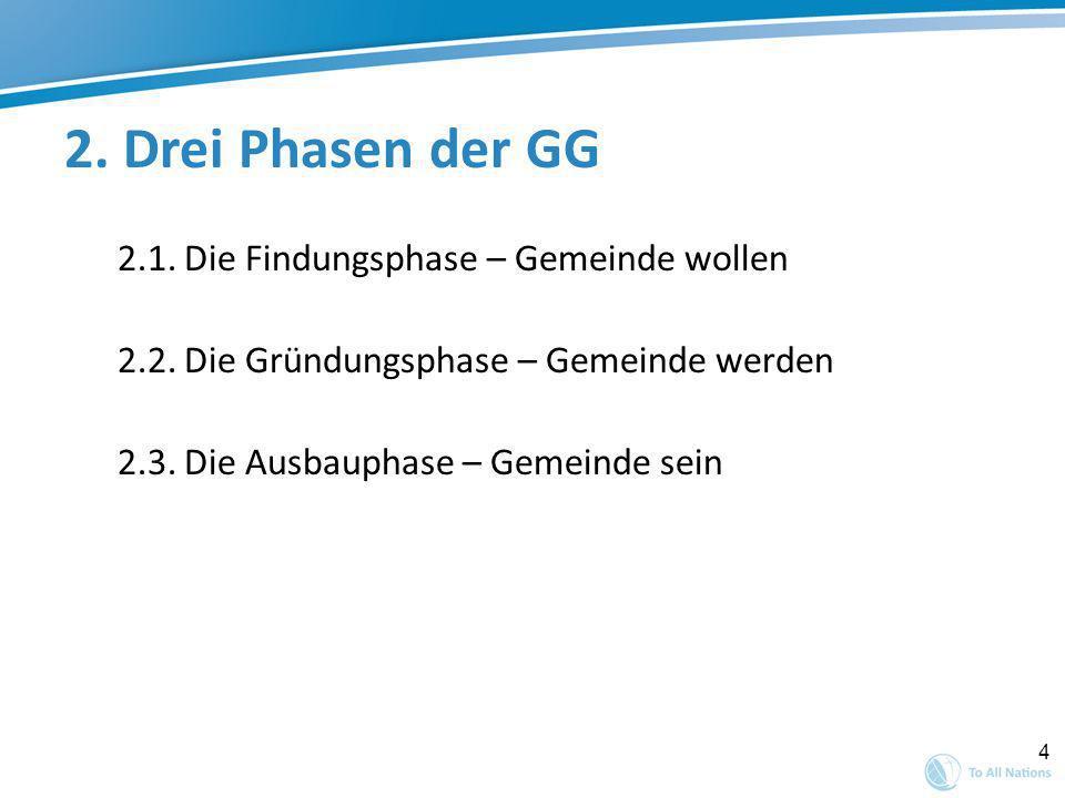 4 2. Drei Phasen der GG 2.1. Die Findungsphase – Gemeinde wollen 2.2. Die Gründungsphase – Gemeinde werden 2.3. Die Ausbauphase – Gemeinde sein
