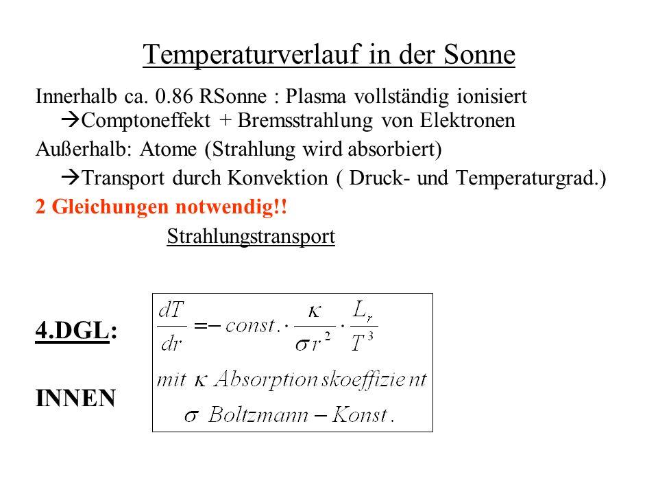 Konvektionsbereich :Adiabatengleichung Außen Problem: 4 gekoppelte Differentialgleichungen numerisch Randbedingungen: r = 0 : M= 0 und L= 0 r = R: P = 0 und T = 0 ; L beobachtbar (Solarkonstante)